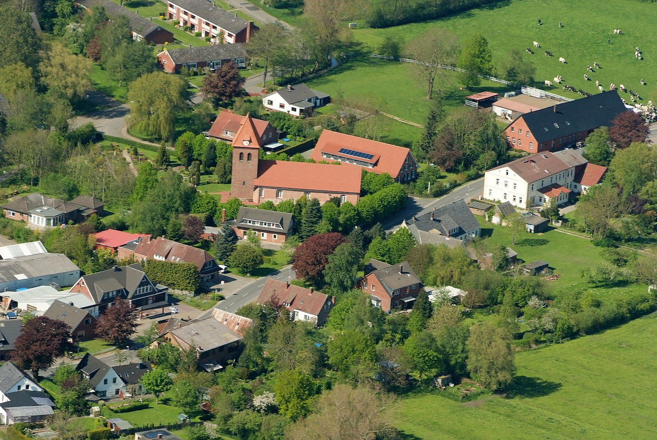 Aerial photo with St. George Church.